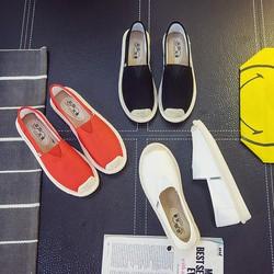 Slip on cói nữ – Giày lười vải nữ cao cấp – 3 màu đen, đỏ và trắng – Mã SP B17