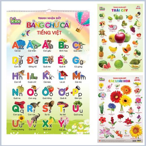Bộ tranh treo tường học tập 12 chủ đề song ngữ cho trẻ em mới lớn ưa chuộng nhất 2019