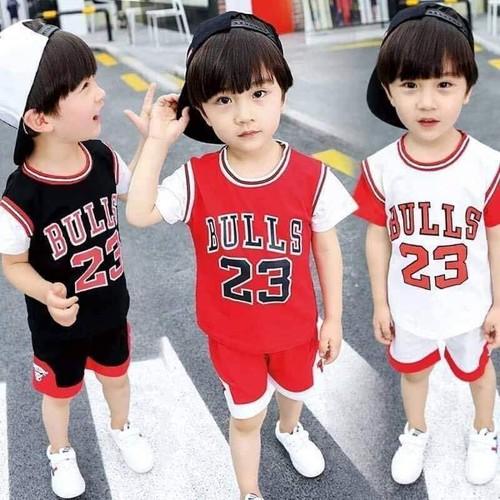 Đồ bộ cộc tay cho bé trai mẫu bóng rổ số 23
