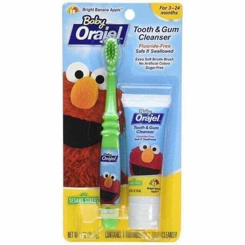 Kem đánh răng orajel nuốt được và bàn chải cho bé usa