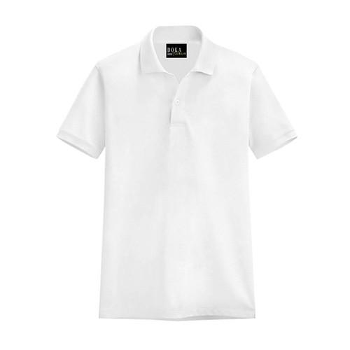 Áo thun nam cổ bẻ kiểu mới-trắng