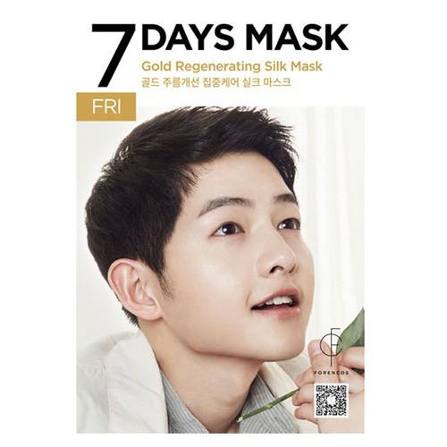 Mặt nạ tơ tinh chất vàng 24k - thứ 6 - forencos 7days gold regenerating silk mask 25ml