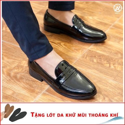 Công sở nam sang trọng - giày lười nam đẹp băng khuyết da bóng - m367-lc