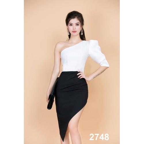 Đầm body lệch vai trắng đen