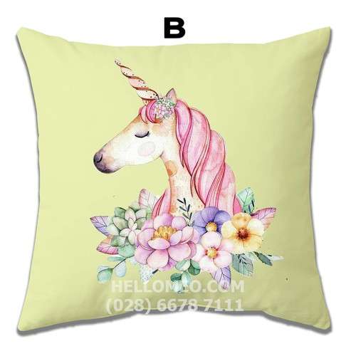 Vỏ gối ôm vuông trang trí sofa 45 x 45cm mẫu unicorn