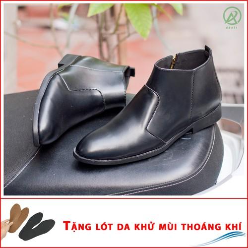 Giày Chelsea Boot Nam Cổ Khóa Da Nhám Màu Đen Cực Chất - NHAMKHOA-CB521-LC