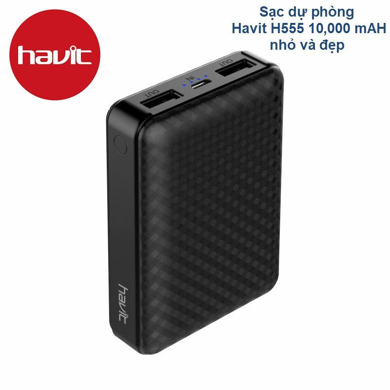 Sạc dự phòng chính hãng Havit H555 -2 Cổng USB Hỗ Trợ sạc nhanh QC 3.0 - HavitH555