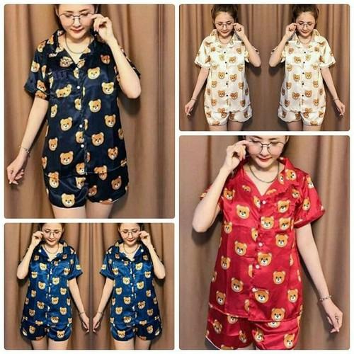 Pijama ngủ sort ngắn phi bóng hình gấu - 17227732 , 19273508 , 15_19273508 , 149000 , Pijama-ngu-sort-ngan-phi-bong-hinh-gau-15_19273508 , sendo.vn , Pijama ngủ sort ngắn phi bóng hình gấu