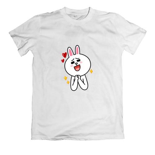 Áo thun in hình sticker hình thỏ dễ thương