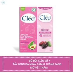 Bộ đôi Kem tẩy lông Cléo da nhạy cảm 50g và Sữa dưỡng dịu da sau tẩy lông Cléo giúp trắng sáng 50g