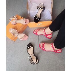 Giày sandal nữ big size đế bệt quai chéo màu đen thương hiệu ĐẸP&SHOCK