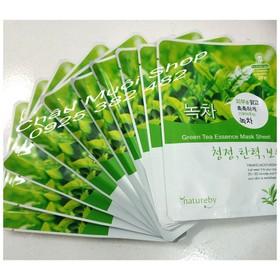 Combo 10 Mặt Nạ Dưỡng Da Trà Xanh Natureby - Green Tea Essence Mask Sheet - COMBO 10 MN TRA XANH