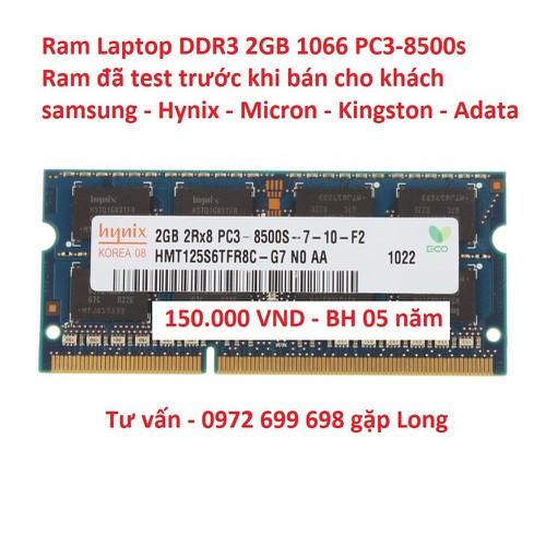 Ram Laptop 2GB DDR3 bus 1066 pc3 8500s cũ nhiều hãng