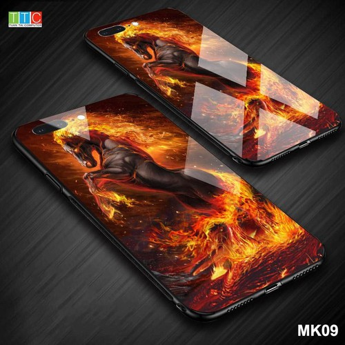 Ốp lưng Iphone 7 Plus , 8 Plus in 3D hình ngựa mặt lưng kính cường lực sáng bóng