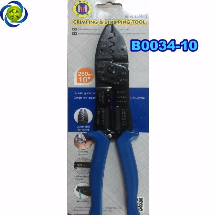 Kềm cắt tuốt bấm cos dây điện C-Mart B0034-10 1