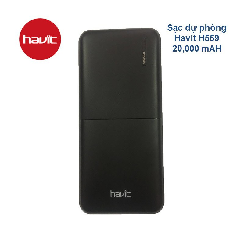 Pin dự phòng Havit H559 20.000mAh - Sạc nhanh 2 chiều, giá hấp dẫn - H559