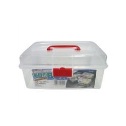 Hộp đựng Mỹ phẩm, vật dụng có quai xách Inomata Nhật Bản, nhựa PP cao cấp có nhiều ngăn, an toàn tuyệt đối – 5532