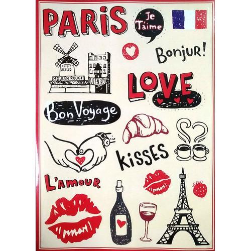 Tấm sticker dán chủ đề paris - kích thước 27cm x 37cm