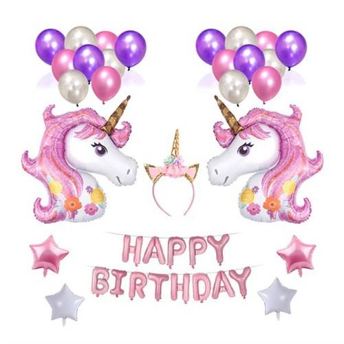 Bộ bong bóng trang trí tiệc sinh nhật cho bé gái hình ngựa 1 sừng - Unicorn 02