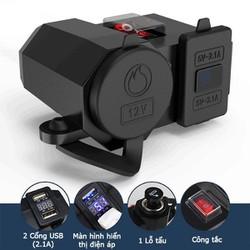 Bộ sạc điện thoại nhanh gắn trên xe máy bình ác quy tẩu trống nước