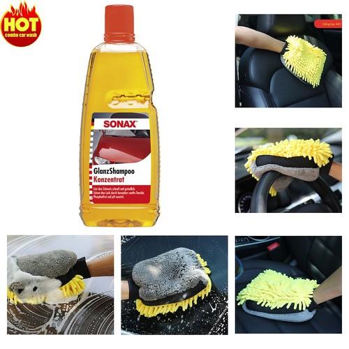 Bộ nước rửa xe sonax gloss shampoo và găng tay 4io microfiber car wash mitt