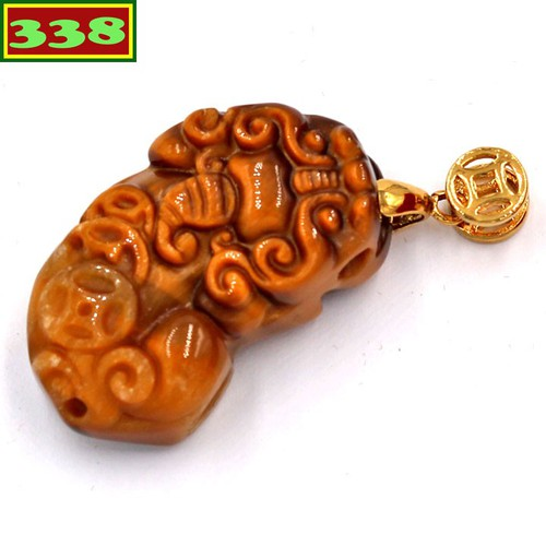 Mặt dây chuyền tỳ hưu đá mắt hổ 3.4 cm mthmha1 - mặt đá phong thủy - đem lại may mắn, tài lộc