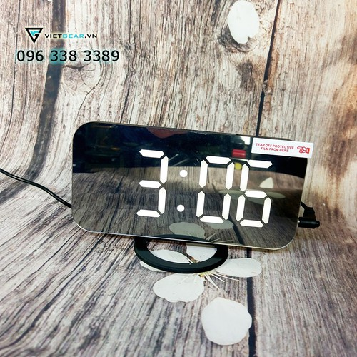 Đồng hồ gương V2, chữ to rõ ràng, có báo thức màu đen chữ trắng