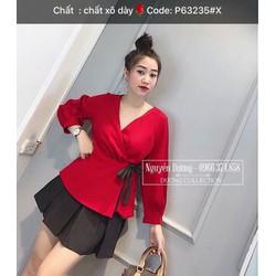 Áo voan nữ đỏ nơ đen