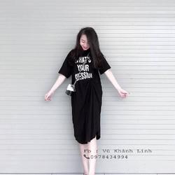 Đầm Xoắn Eo Chất Liệu Cotton Nhập Quảng Châu , Free Size 64kg Vừa, Khách Được Kiểm Tra Hàng, ĐẦM WHAT