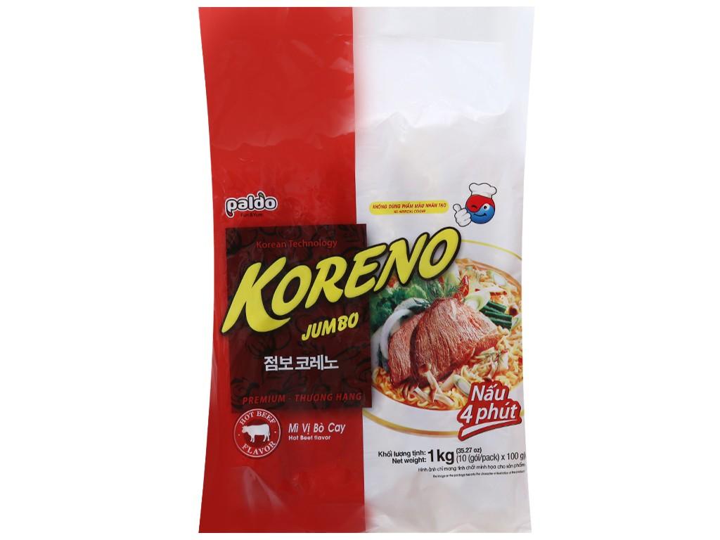 Túi 10 gói Mì Koreno Jumbo bò cay 1kg - t10gmkjbc1kg