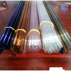 combo5 ống thủy tinh Đức màu  1 bịch túi miết mép 1 bịch ống hút xoắn hai đầu màu trắng