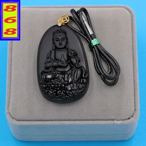 Dây chuyền mặt Phật Quan Âm Bồ Tát - thạch anh đen 5.7cm DEQAE6 - kèm hộp nhung