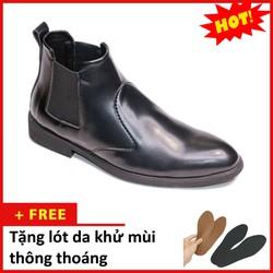 Giày Chelsea Boot Nam Cổ Chun Da Nhám Đen   Thiết Kế Trẻ Trung, Sang Trọng- Hợp Thời Trang - Dễ Phối Với Nhiều Loại Trang Phục Khác Nhau - Đảm Bảo Chất Lượng Và Giá Tốt - Nhận Hàng Thanh Toán Tiền Ship Cod Toàn Quốc- Giày Da Nam Aroti- Nhamchun-Cb520