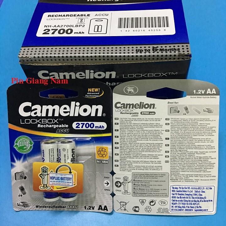 Pin sạc AA Pin sạc AA Camelion 2700mAh màu trắng vỉ 2 viên