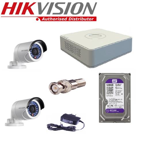 TRỌN BỘ 2 CAMERA HIKVISION DS-2CE16D0T-IRP VÀ DS-7104HQHI-K1 + HDD 500GB.