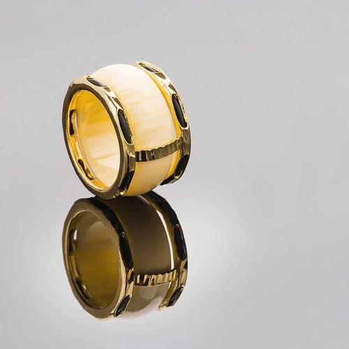 Nhẫn nam ngà dát vàng 18k