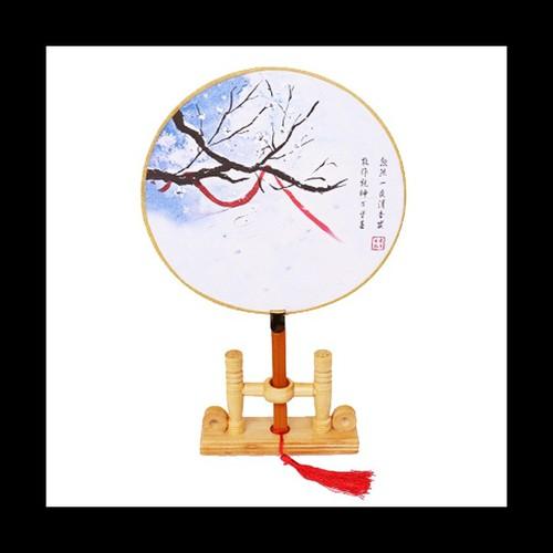 Quạt cổ trang mẫu tuyết đông bộ sưu tập quạt tròn cầm tay in họa tiết trang trí đẹp phong cách cổ đại