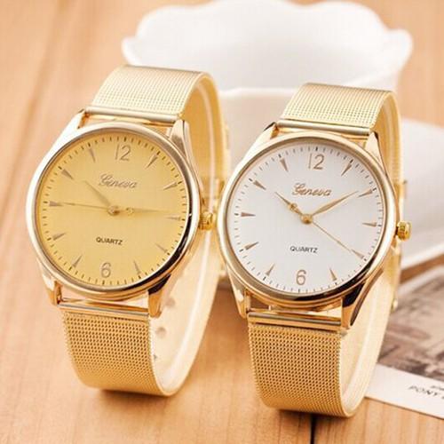 Đồng hồ geniva dây lưới mặt vàng trắng