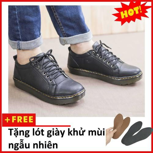 Giày Dr Nam Ngắn Cổ Đế Khâu Màu ĐenM90-LC