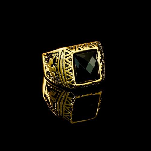 Nhẫn inox họa tiết đại bàng - đen