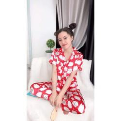 Đồ bộ pijama phi bóng |pijamaphi bóng kiti|pijamasatin siêu đẹp|bộ đồ mặc nhà