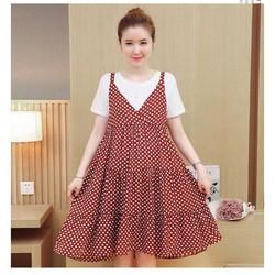 Váy Yếm Bầu Chấm Bi