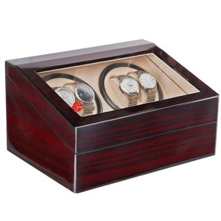 Hộp đựng đồng hồ cơ 4 xoay 6 trưng bày bằng gỗ, hộp xoay đồng hồ cơ 4 xoay bọc nỉ trong - 4X6B NỈ ĐỎ VÂN GỖ thumbnail