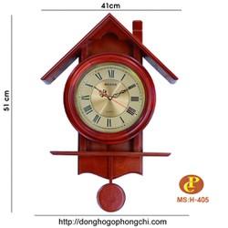 đồng hồ gỗ treo tường quả lắc H405