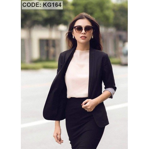 Áo khoác vest nữ màu đen