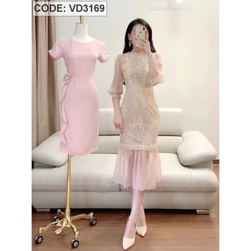 Đầm kem voan phối ren