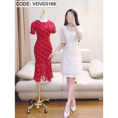 Đầm trắng ren dày mịn màu trắng