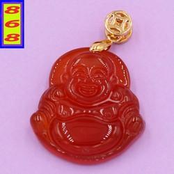 Mặt dây chuyền Phật Di Lặc - thạch anh đỏ 2.2cm x 2.9cm
