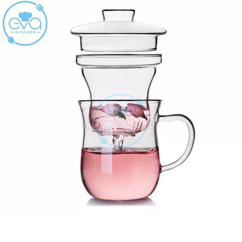 Ly lọc trà thuỷ tinh chịu nhiệt dáng eo thon slim waist 300 ml