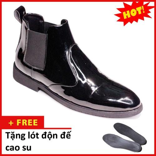 Giày boot nam cổ chun da bóng màu đen sang trọng và phong cách-  bongchun-độn đế+  cb520-lc